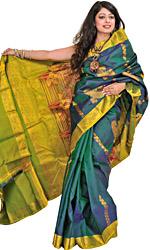 Teal Kanjivaram Handloom Sari with Woven Paisleys in Zari Thread