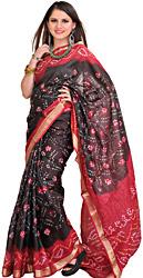 Jet-Black and Red Bandhani Tie-Dye Marwari Sari from Jodhpur with Brocaded Border
