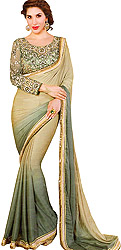 Olive-Gray and Green Shaded Self-Weave Sari with Patch Border and Zari Embroidered Blouse