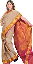 Moonlight and Pink Kanjivaram Sari with Woven Little Krishna on Aanchal