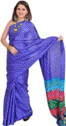 Dazzling-Blue Bandhani Tie-Dye Sari from Gujarat