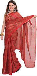 Brick-Red Bandhani Tie-Dye Marwari Sari from Jodhpur