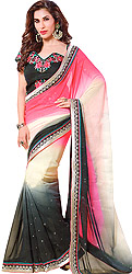 Triple-Shaded Designer Wedding Sari with Patch Border and Embroidered Blouse