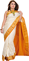 Ivory and Amber Sari from Bangalore with Woven Bootis and Brocaded Aanchal