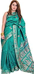 Tropical-Green Baluchari Sari from Kolkata Depicting the Swayamvar of Sita