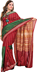 Maroon and Green Double-Colored Bomkai Sari from Orissa
