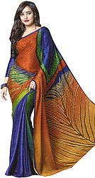 Multicolor Self-Weave Sari with Crystals and Giant Printed Peacock Feather