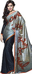 Silver and Black Double-Shaded Printed Sari with Self-Weave All-Over