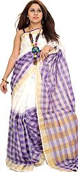 Double-Shaded Upada Sari from Andhra Pradesh with Woven Checks