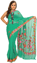 Atlantis-Green Sari from Kashmir with Ari-Embroidered Flowers