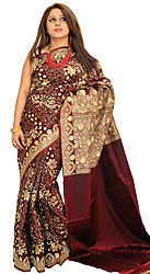 Rio-Red Zari Embroidered Bridal Sari from Banaras with Sequins and Beadwork by Hand