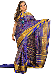 Orient-Blue Patan Patola Sari from Gujarat with Ikat Weave