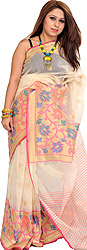 Ivory and Golden Wedding Sari from Banaras with Floral Wide Border and Zari Bootis