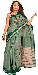 Venkateshwara Sari from Bangalore with Woven Bootis and Striped Aanchal