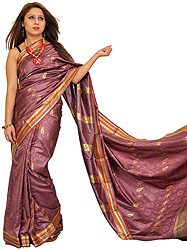Dusky-Orchid Venkateshwara Sari from Bangalore with Self-Weave and Brocaded Aanchal
