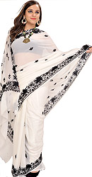 Pristine-White Sari from Kashmir with Black Ari-Embroidered Flowers