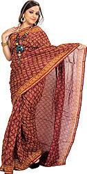 Chocolate-Truffle Chanderi Sari with Kalamkari Printed Flowers