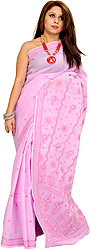 Pastel-Lavender Sari from Lucknow with Chikan Embroidery by Hand