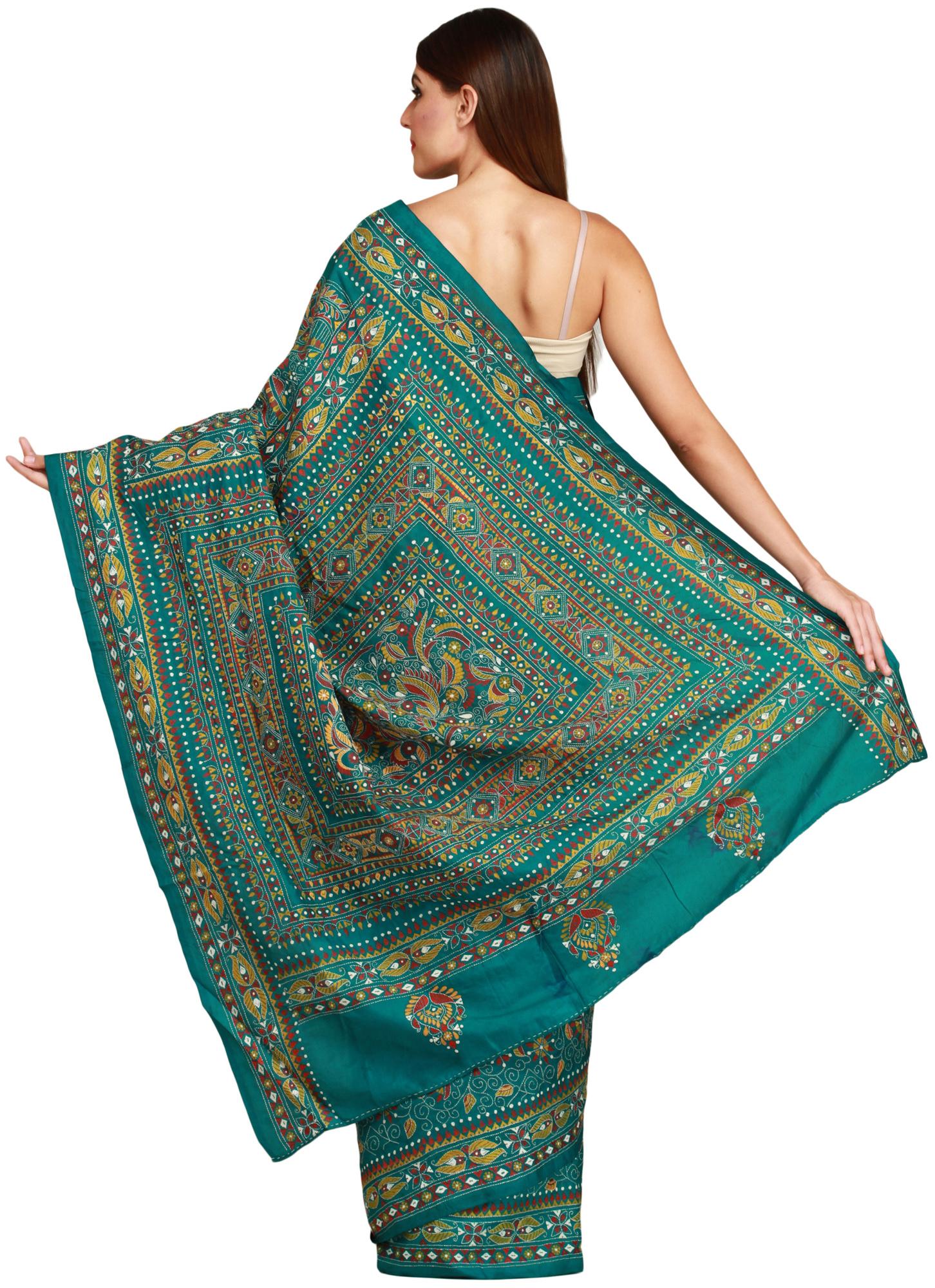Parasailing green kantha sari from kolkata with dense