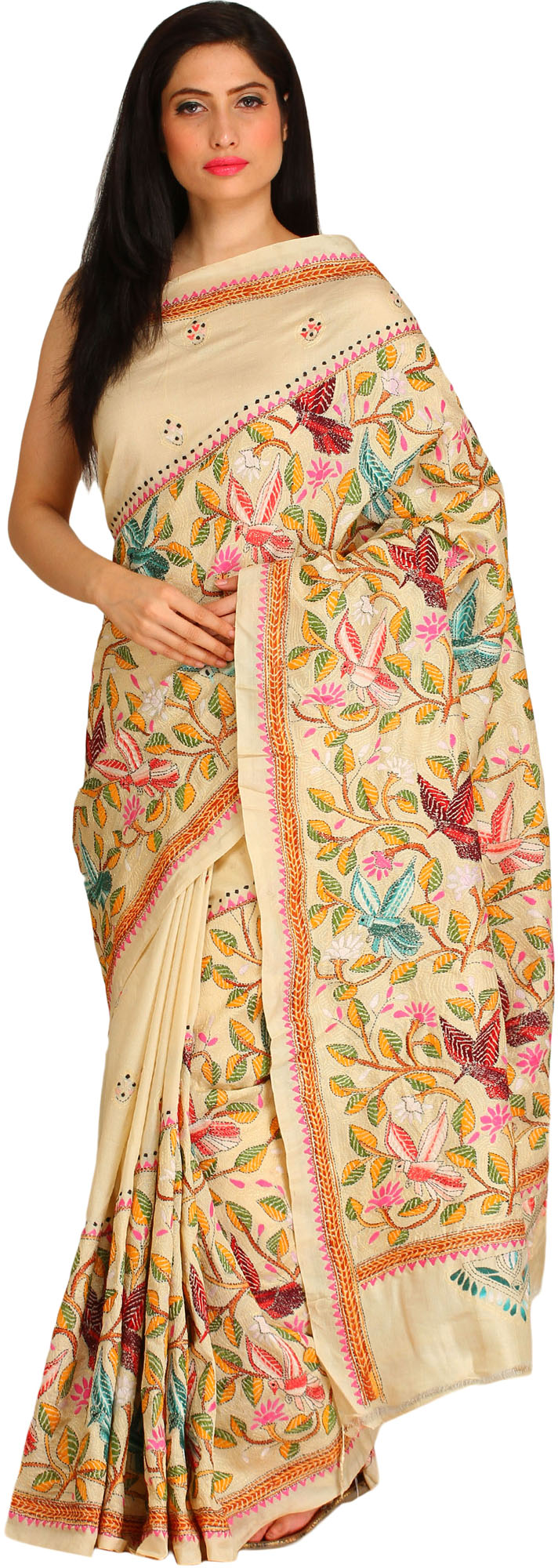 Almond oil sari from kolkata with kantha hand embroidered