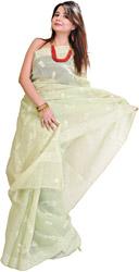 Seafoam-Green Sari with Lukhnavi Chikan Embroidery by Hand