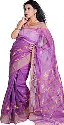 Sunset-Purple Chanderi Sari with Hand-woven Paisleys and Golden Border