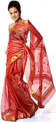 Vermilion-Red Tissue Chanderi Sari with Golden Thread Weave