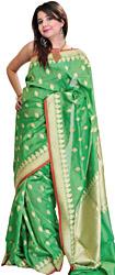 Vibrant-Green Banarasi Sari with Woven Booties and Brocaded Pallu