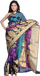 Vivid Viola Banarasi Sari with Giant Paisleys Woven in Zari Thread