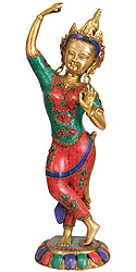 Tibetan Buddhist Mayadevi - Mother of Buddha with Upraised Hand Symbolically Holding a Branch of a Tree