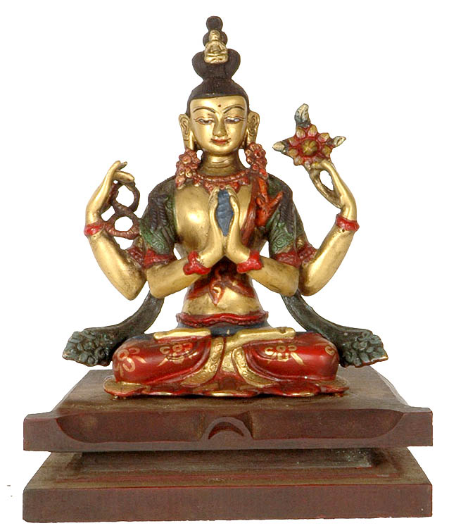 Chenrezig (Shadakshari Lokeshvara) Seated on Fine Wooden Pedestal