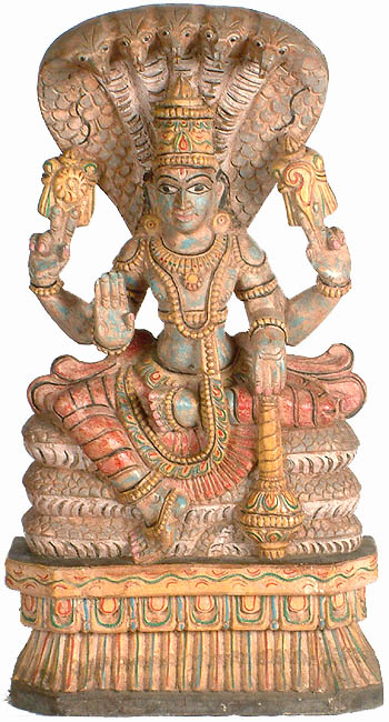 Lord Vishnu Seated on Serpent Ananta