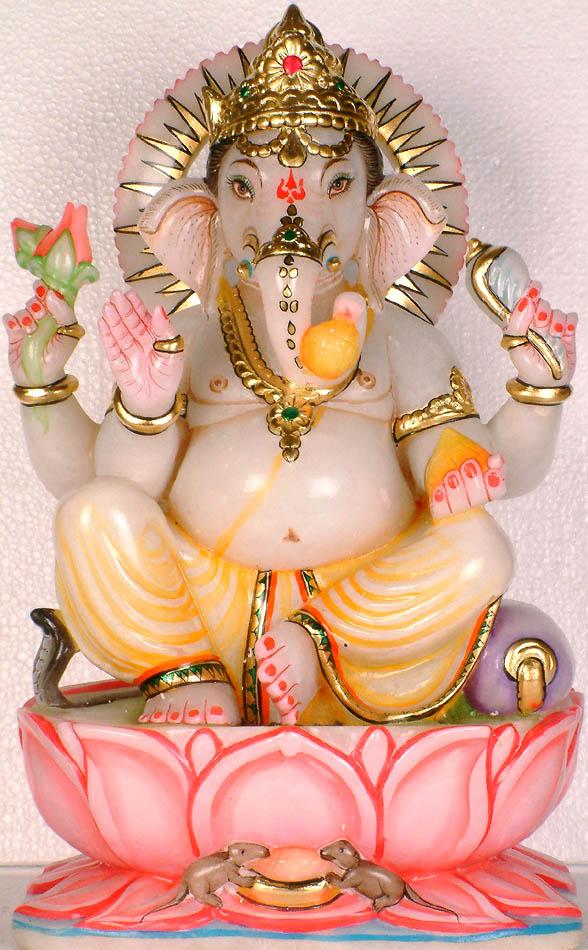 The Marble Image the Elephant God Lord Ganesha