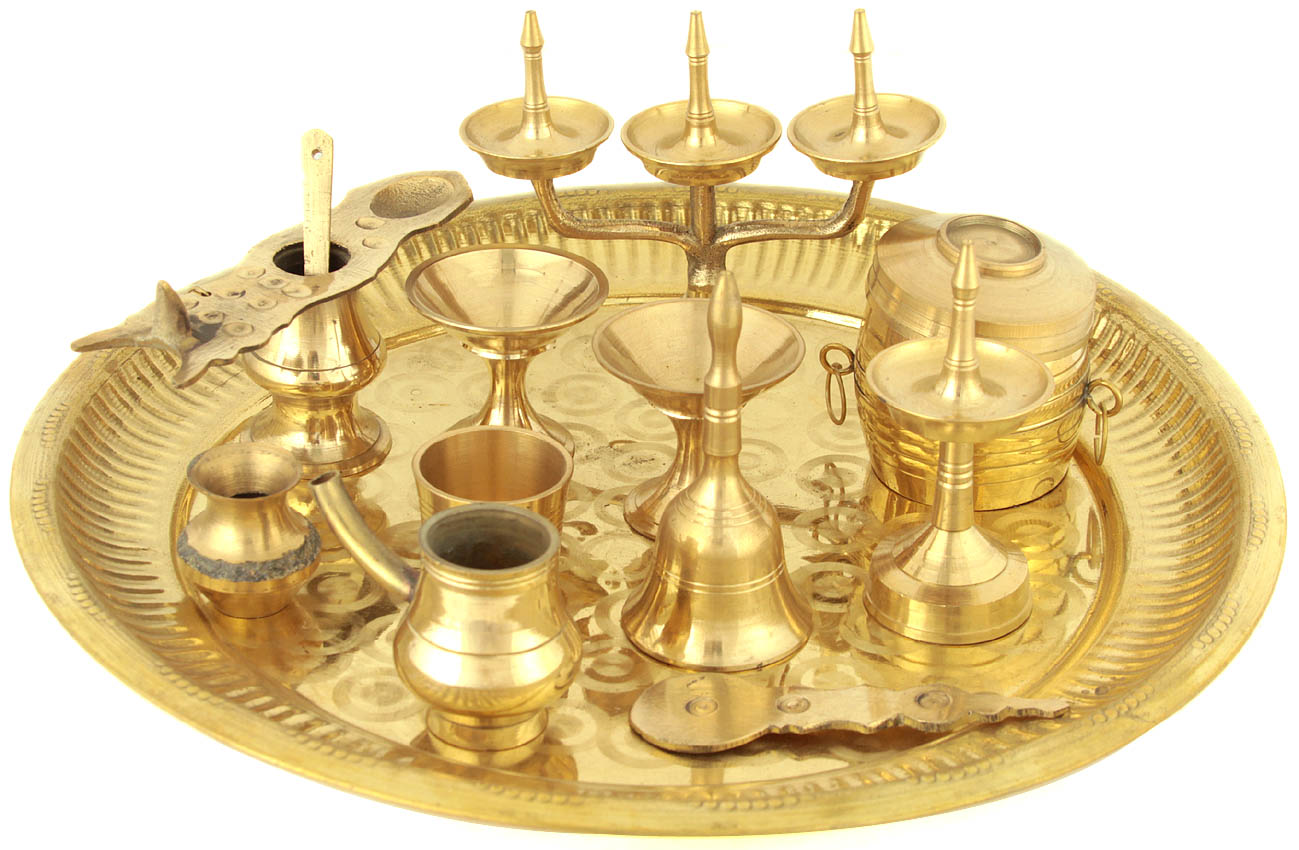 Puja Thali with Eleven Ritual Items From Kerala