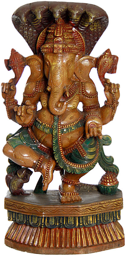 Lord Ganesha Protected by Five-Hooded Serpent