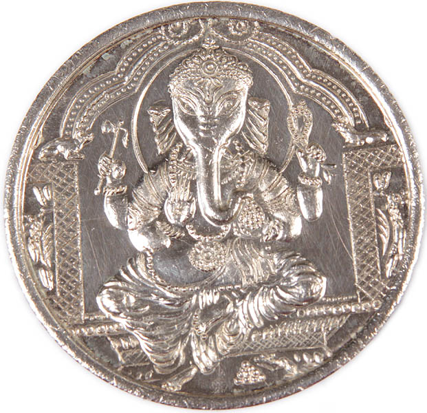 Shri Ganesha Silver Coin  with Om (AUM) on Rear