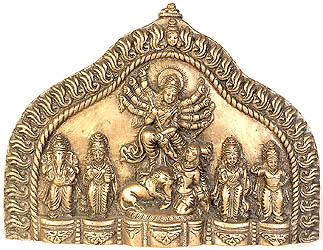 Wall Hanging Plate of Goddess Durga with Ganesha, Lakshmi, Saraswati and Karttikeya
