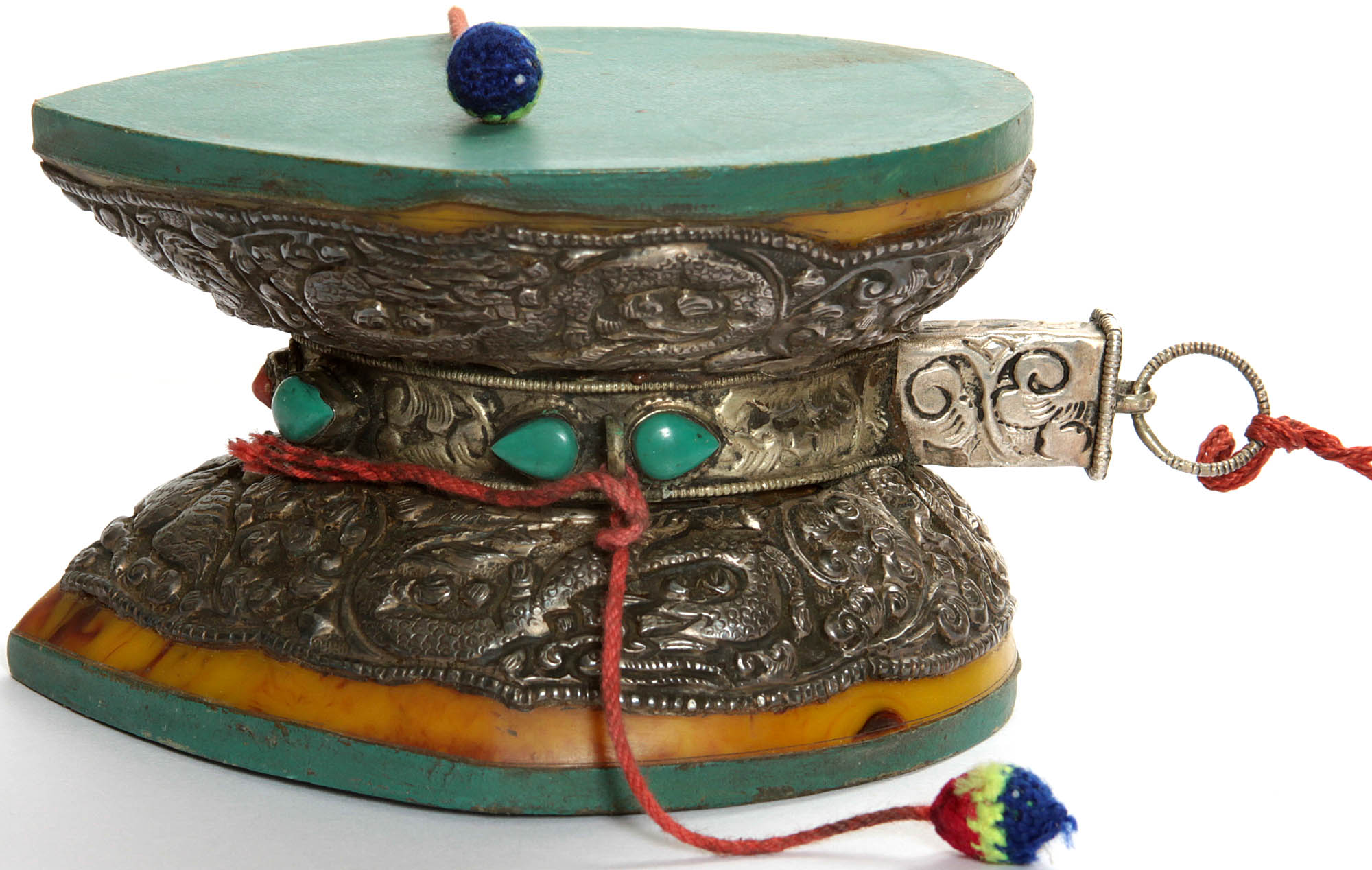 Pellet Drum (Damaru) with Dragon, Silk Tassel and Scarf