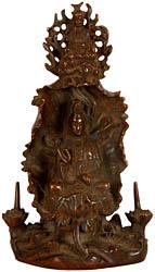 Kuan Yin - Goddess of Compassion with Amitabha Buddha Seated Above Aureole