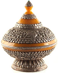 Amber Dust Ritual Bowl with Jataka Animals