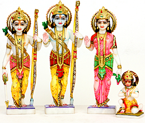 Marble Images of Rama, Sita, Lakshmana and Hanuman