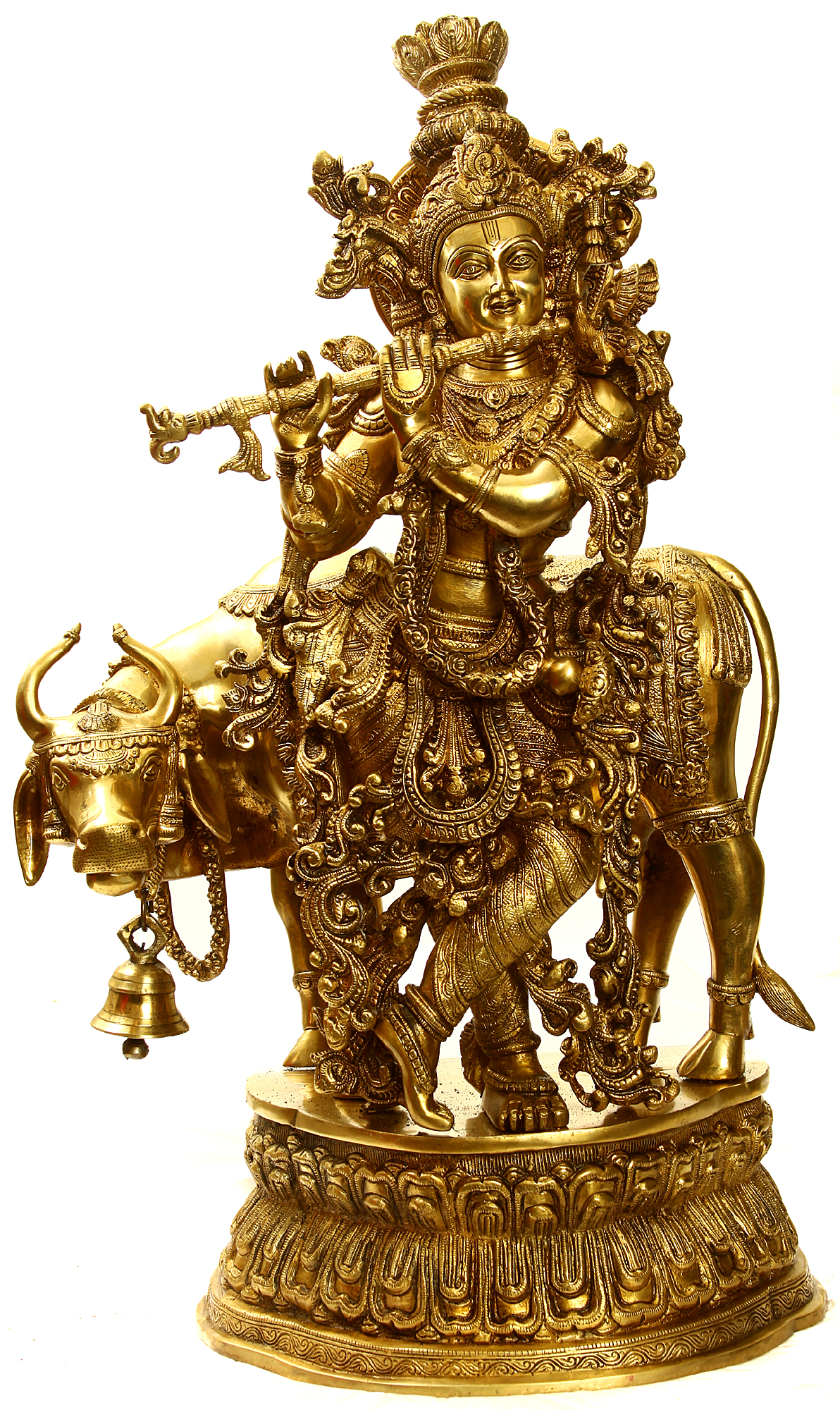 Large Size Lord Krishna With A Cow And His Flute