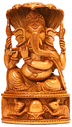 Lord Ganesha Playing Flute (Protected by Seven-Hooded Serpent)