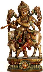 Krishna as Vishnu Blowing His Flute