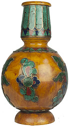 Amber Dust Vase with Inlay Flowers