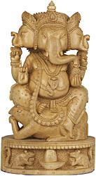 Trimukha Ganesha Seated on Rat