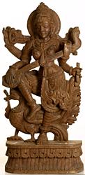 Dancing Goddess Saraswati with Peacock