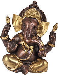 Baby Ganesha in Brown and Golden Hues with Large Ears