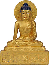 Vajrasana Buddha in Golden Hue (A Statue Blessed by Monks in Bodhgaya)