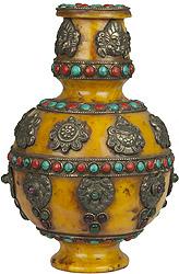 Ashtamangala Amber Dust Vase